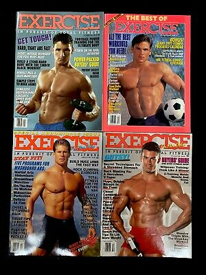 LOT OF 4 EXERCISE FOR MEN ONLY MAGAZINES- 1995-1997) - NEW Vintage