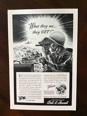 1942 vintage Original ad Bell & Howell Motion Picture Camera WWII theme