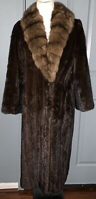 Vintage Saks-Jandel Mink with Sable Fur Collar Full Length Coat.