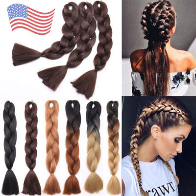 "1-5 Bundle Jumbo Braiding Hair 24"" Ombre for 5% human Afro Braids 100g/pc US nw"