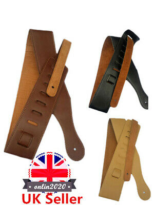 For Electric Acoustic Guitar Bass Durable Leather Thick Strap Belt Adjustble UK
