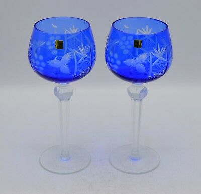 Pair of 2 Cobalt Blue Cut to Clear Crystal Wine Glasses - Poland - Grape & Star