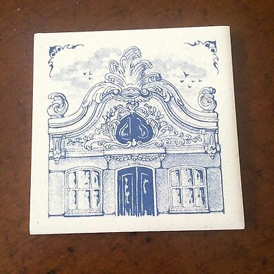 """Vintage KLM Airlines Business Class Blue and White 3"""" Delft Tile Coaster C NICE"""