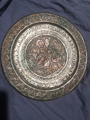 Antique large Ottoman Hand Hammered Wall Hanging Copper Plate BARGAIN!