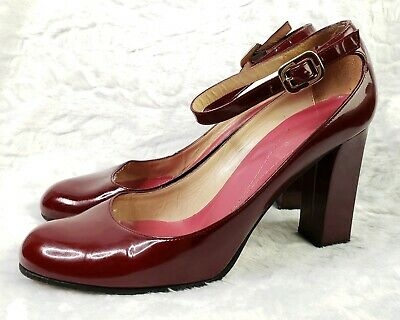 ace2585fb8d KATE SPADE RED Patent Leather Mary Jane Block Heels Pumps Womens 7.5 B 7  1/2 B