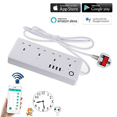 Plug Smart Home Extension Lead Surge Protector Strip Timer WIFI Control Socket