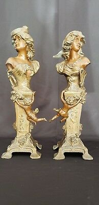 Antique Art Nouveau French Women Cupid's Pair Bronze Spelter Figurines Signed