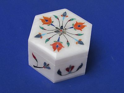 Octagonal White Marble Stone Inlaid Jewelry Box Marble Inlay Trinket Box Art