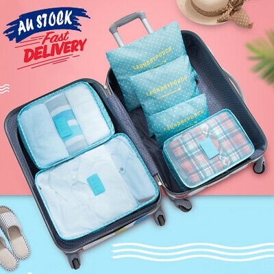 6pcs Luggage Organizer Cloth Sock Bag Travel Packing Storage Cube Pouch Suitcase