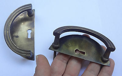 Antique Pair Brass Pull handles + Back plates Keyhole covers