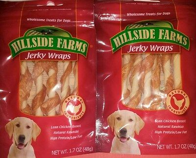 Hillside Farms Jerky Wraps Natural Chicken Dog Treats 2 Packs