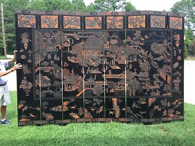 Vintage Chinese Room Divider Screen Hand Carved Wood