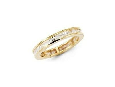 14K Solid Yellow Gold Baguette Simulated Diamond Eternity Band Ring, 2.7g approx