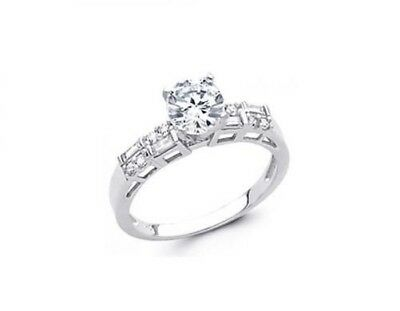 14K Gold 1.75ctw Round & Baguette Simulated Diamond Solitaire Engagement Ring