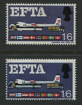 GB 1967 EFTA 1/6d stamp - missing blue-grey colour variety SG716pd MNH - BQ239
