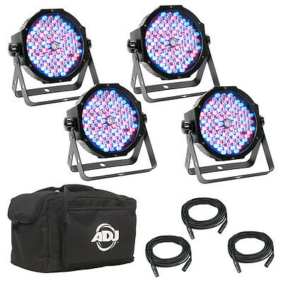 ADJ Mega Flat Pak Plus 4x LED Lighting Pars + DMX Cables + Soft Bag, OPEN BOX