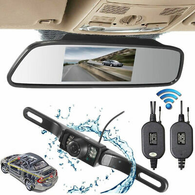 "Car Rear View 5"" LCD Monitor/Mirror Wireless Backup Camera Parking Reverse Kit"