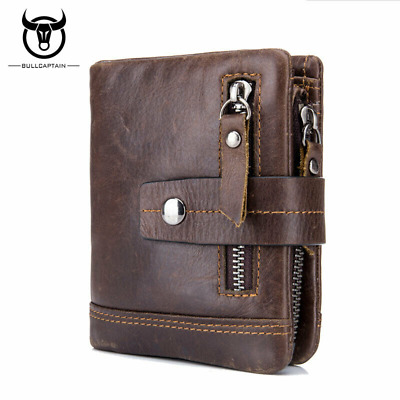 Men's Genuine Leather RFID Blocking Wallet Coin Pocket Trifold Purse Card Holder