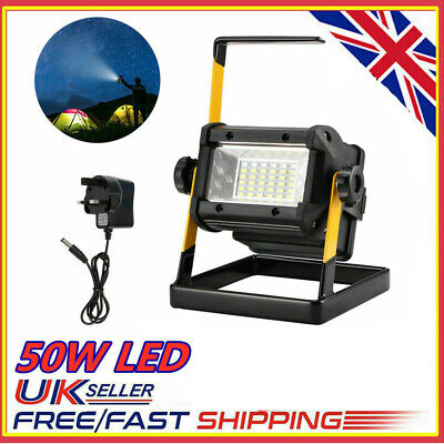 Rechargeable 50W 36LED Work Light Floodlight Camping Portable Spot Waterproof UK