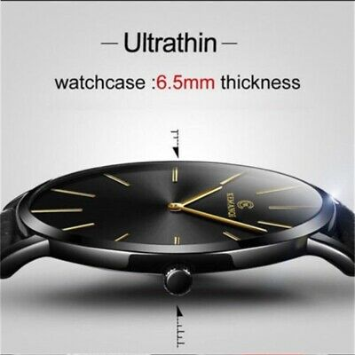 Men Sport Stainless Steel Leather Band Quartz Analog Wrist Watch Gifts Cheap UK