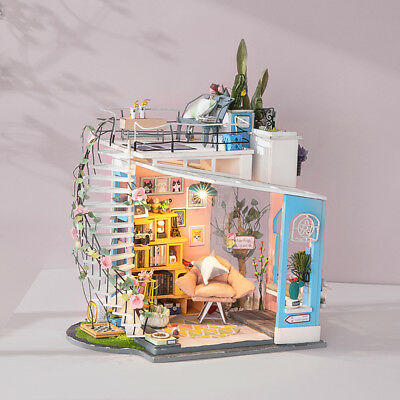 ROBOTIME Dollhouse Loft DIY House with Furniture Gift Toy for Adult Teens Girls
