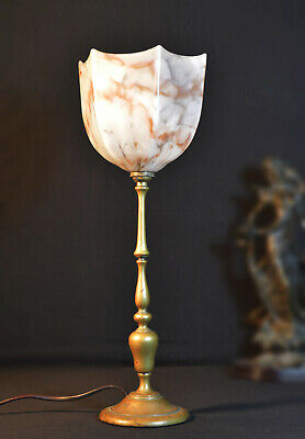 Edwardian 1910 Railway antique carriage Lamp hand-made marbled shades