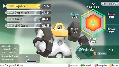 Pokemon Let's Go Melmetal Shiny Custom/lvl/6IV/AVs