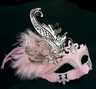 Pink Swan, Pink and Silver Metal Masquerade Mask with Feathers, Eyemask, Costume