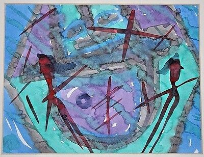 Klaus Ihlenfeld Original Abstract Signed Watercolor Painting