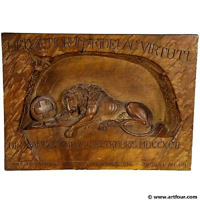 swiss lion of lucerne relief carving ca. 1900