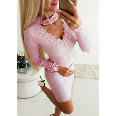 Fashion Female Dress Pearl Bead Halter V-neck Solid Long Sleeve Slim Dress ONE