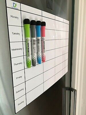 Fridge Board Magnetic Weekly Planner - Notice Memo Meal Whiteboard Large  4 pens