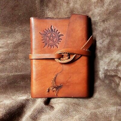 Supernatural Brown Leather Blank Notebook Journal Diary Handmade