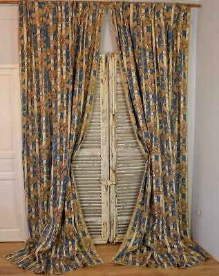 Spectacular Pair Antique French Chateau Curtains, Indienne/ Stripes, Mid 19th C