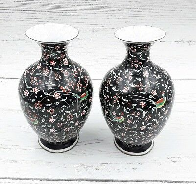 Vintage pair of Persian Hand Painted Hand made Enamel Vases