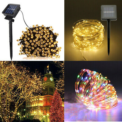 10/20M 50/100/200 LED Solar String Lights Waterproof Copper Wire Fairy Outdoor