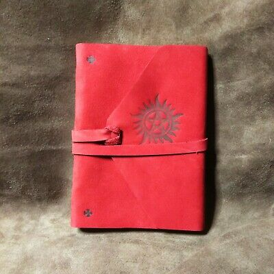 Supernatural Red Leather Blank Notebook Journal Diary Handmade