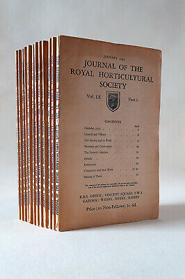 Journal of the Royal Horticultural Society Vol. LX Part One to Twelve January-