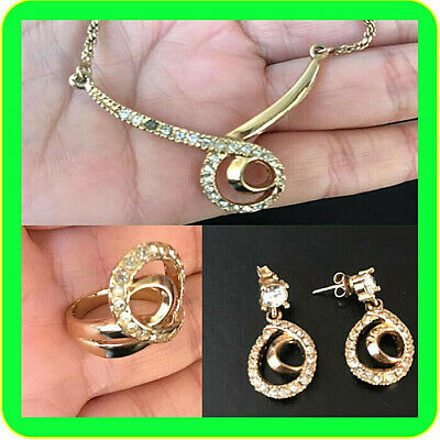 Elegant Set Of Old Vintage Yellow Gold Plated 14K Earring Necklace, Ring Stunnin