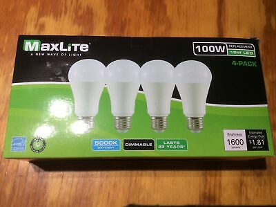 NEW 4 PACK BULBS LED  100W Dimmable  MAXLIGHT
