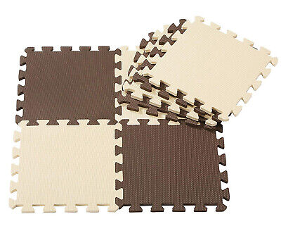Interlocking Eva Foam Tiles Exercise Floor Mats Kids Play Office Brown/Beige