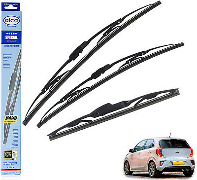 "Kia Picanto 2017-on hybrid wiper blades set of front /& rear 24/""14/""12/"""