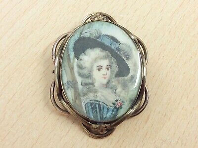 Antique Rolled Gold & Hand Painted Gainsborough Lady Miniature Brooch Pin 1900