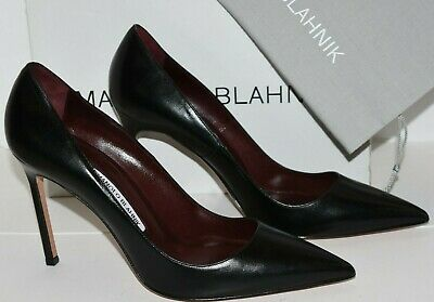 6778b7d10cfb4 $625 NEW Manolo Blahnik BB 105 Leather Pumps Black Heels Pointed Toe Shoes  41.5