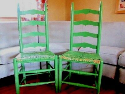 Pair Shaker Ladder Back Chairs Painted, Shabby Chic, Green Rush Seats