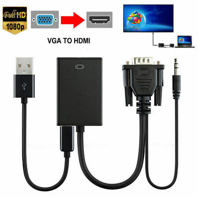 VGA Male To HDMI Output 1080P HD+Audio TV AV HDTV Video Cable Converter Adapter*
