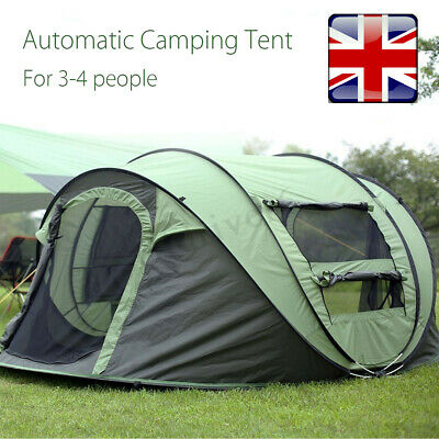 3-4 Person Automatic Camping Up Tent Awning Waterproof Family Outdoor Hiking