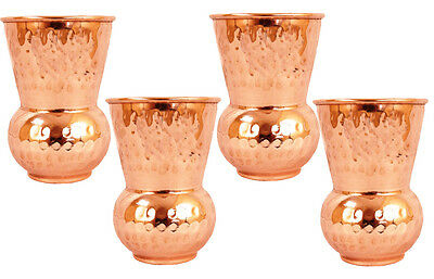 Copper hammered Glass Healing Ayurvedic tableware accessories 4 pcs Pure copper