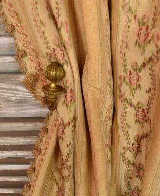 Amazing Pair Antique French Chateau Curtains, Silk Moiré / Brocade 19th C  B955b
