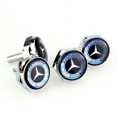 4X Car License Plate Frame Security Screw Bolt Caps Covers Fit For Mercedes-Benz